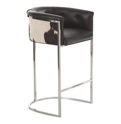 Arteriors Calvin Top Grain Black Hide Leather Art Deco Barstool