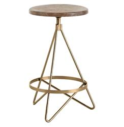 Windham Industrial Vintage Brass Wood Iron Swivel Counter Stool | ART-6698