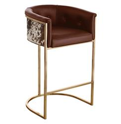 Calvin Top Grain Brown Hide Leather Art Deco Barstool | Kathy Kuo Home