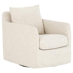 Aimee Modern Classic Ivory Upholstered Swivel Sofa Living Room Chair