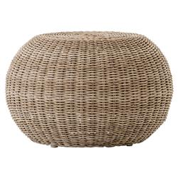 Airah Modern Classic Brown Rounded Woven Wicker Outdoor Accent Stool