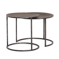 Aiza Modern Classic Antique Brass-Clad Top Round Nesting Tables - Set of 2