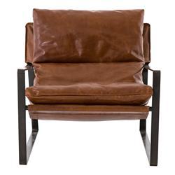 David Modern Classic Dark Brown Leather Black Iron Occasional Arm Chair