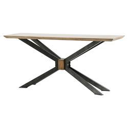 Bert Industrial Loft Rectangular Oak Top Black Cross Leg Console Table
