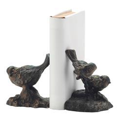Sculpted Iron Bronze Gold Sparrow Iron Bookends