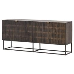 Carmela Modern Beautifully Carved 4 Door Brown Wood Slim Legs Sideboard
