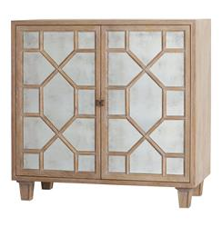 Remington Oak Hollywood Regency Antique Mirror Media Cabinet | ART-5236
