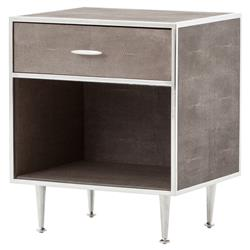 Ena Mid Century Brown Shagreen Wrapped Silver Accent Nightstand