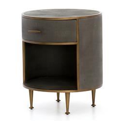 Ena Mid Century Grey Shagreen Wrapped Brass Accent Round Nightstand