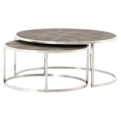 Ena Mid Century Round Shagreen Top Stainless Frame Nesting Round Coffee Table