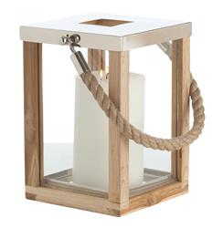 Tate Coastal Beach Jute Rope Handle Wood Steel Silver Candle Lantern- Small