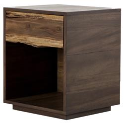 Griz Rustic Lodge Two Tone Brown Wood 1 Drawer Cube Nightstand