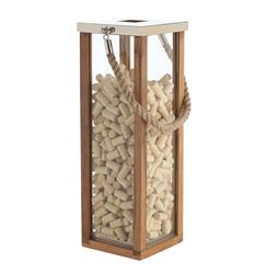 "Tate Coastal Beach Jute Rope Wood Steel Silver Candle Lantern - 27.5""H"