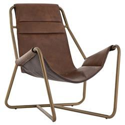 Hector Industrial Loft Brown Leather Aged Brass Frame Sling Chair