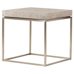 Jade Modern Chunky Square Wood Top Bronze Steel Frame Side End Table