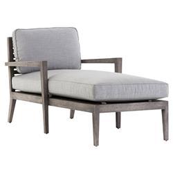 Janella Coastal Beach Grey Canvas Cushion Weathered Grey Teak Outdoor Chaise