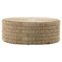 Jene Coastal Beach Woven Natural Pandan Rope Drum Round Coffee Table