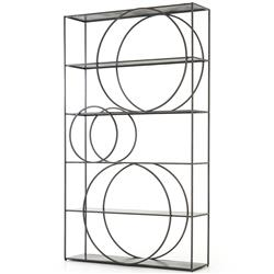 Josephine Industrial Loft Sturdy 5 Shelf Gunmetal Iron Bookcase