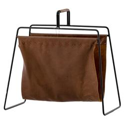 Jules Mid Century Sling Brown Leather Black Metal Frame Magazine Holder
