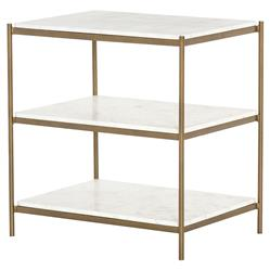 Kian Modern Gold Frame 3 Tier White Marble Shelves Nightstand