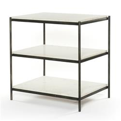 Kian Modern Hammered Grey Frame 3 Tier White Marble Shelves Nightstand