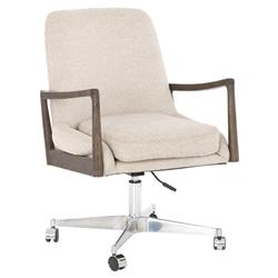 Lorry Modern Classic Beige Upholstered Cedar Wood Armrest Office Chair