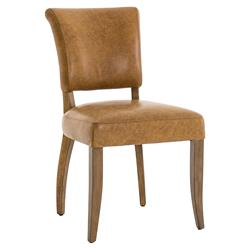 Louise Modern Classic Aged Tan Leather Upholstered Oak Wood Dining Chair