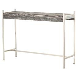 Mona Modern Grey Marble Top Slim Sturdy Pewter Iron Frame Console Table