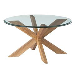 Genève Wood Glass Danish Modern Coffee Table