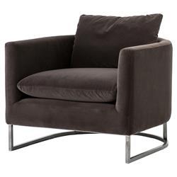 Nancy Modern Classic Mocha Velvet Upholstered Raw Iron Base Tub Chair