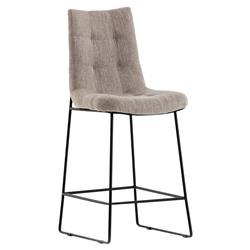 Pamela Modern Classic Tufted Grey Upholstered Black Iron Frame Counter Stool