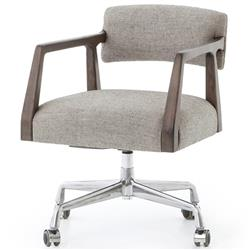Pia Modern Low Back Grey Upholstered Burnt Oak Office Chair