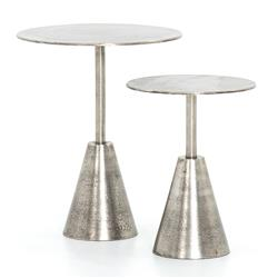 Ren Industrial Loft Antique Nickel Round Outdoor Side End Tables - Set of 2