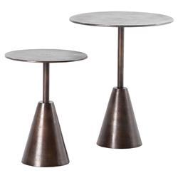 Ren Industrial Loft Antique Rust Round Outdoor Side End Tables - Set of 2