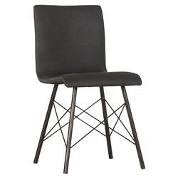Sam Mid Century Black Leather Upholstered Black Steel Legs Dining Chair
