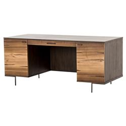 Sonya Modern 1 Drawer Natural Yukas Wood Slim Bronzed Legs Desk