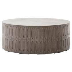 Tabitha Modern Classic Durable Grey Drum Concrete Outdoor Coffee Table