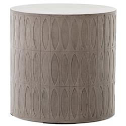 Tabitha Modern Classic Durable Grey Drum Concrete Outdoor Side End Table