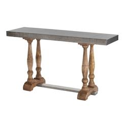 Winfred Industrial Galvanized Metal Reclaimed Wood Trestle Console Table