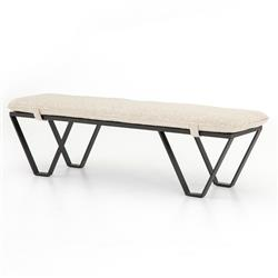 Vigdis Modern Classic Textured Beige Cushion Iron Frame Bench