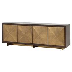Vince Modern Antique Gold Faceted Door Panel Dark Walnut Wood Sideboard