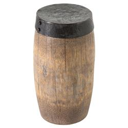 Warren Modern Brown Aged Drumroll Coconut Stem Black Iron Top Side End Table