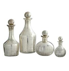 Blythe Modern Silver Small Decanters Decorative Bottles- Set of 4