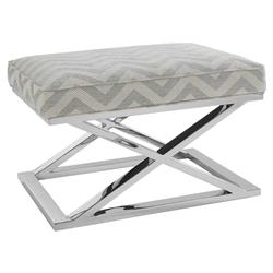 Cairo Hollywood Regency Chrome Base Chevron Grey Upholstered X Base Ottoman