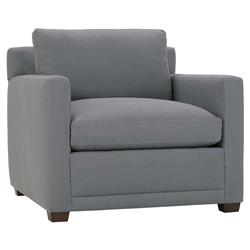 Carmichael Modern Classic Grey Linen Upholstered Wood Club Chair
