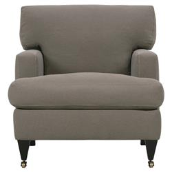 Caspian Modern Classic Brown Upholstered Wood Caster Club Chair