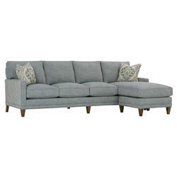 Karris Modern Classic Track Arm 4 Cushion Indigo Blue Sofa with Chaise Ottoman