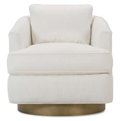 Lucrezia Modern Classic White Upholstered Gold Brass Base Swivel Arm Chair