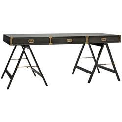 Noir Campaign Modern Classic 3-Drawer Antique Brass Leaf Black Writing Desk