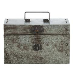 Antique Galvanized Steel Industrial Small Hinged Box | ART-6663